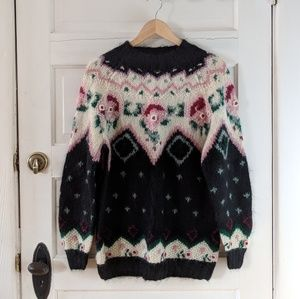 Vintage Floral Mohair Knit Sweater Medium-Large